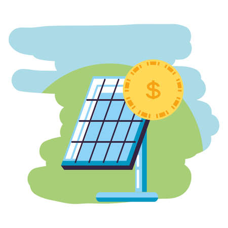 cash coin money with solar panel energy vector illustration design