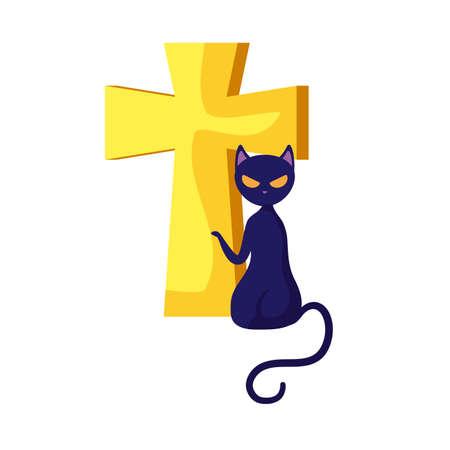 cat animal of halloween with cross vector illustration design