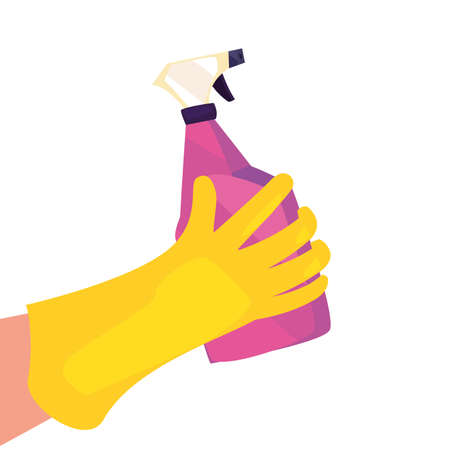 hand with glove spray cleaning products and supplies vector illustration Stock Illustratie