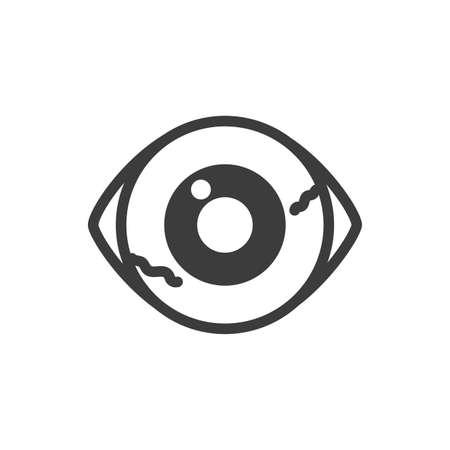 silhouette of eyes scary halloween on white background vector illustration design Ilustracja