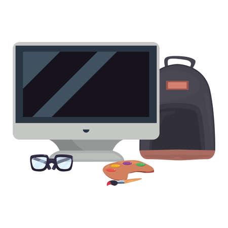 computer backpack glasses color palette back to school vector illustration