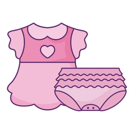 dress baby with diaper for girl isolated icon vector illustration design