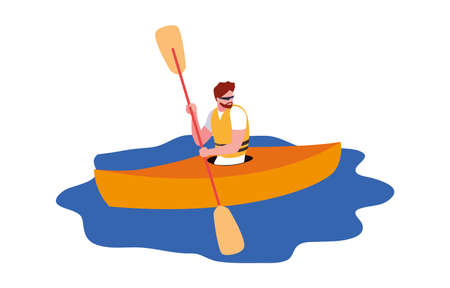 man paddling kayak extreme sport and lifestyle vector illustration 일러스트