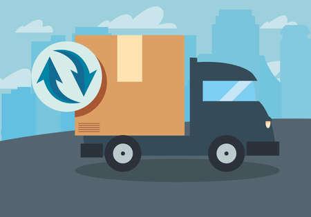 truck cardboard box magnifiying glass icon vector illustration Ilustrace