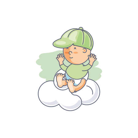 cute baby boy with cloud vector illustration design