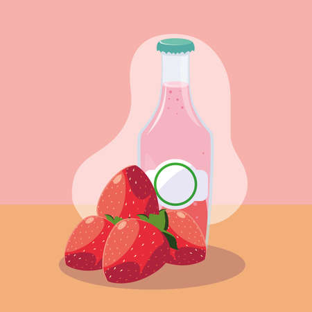 fresh strawberries with bottle of juice natural vector illustration design