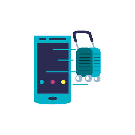 smartphone device and suitcase with wheels vector illustration design Vettoriali