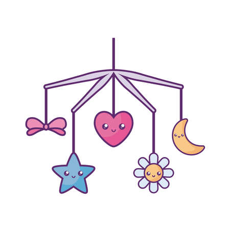 cradle mobile baby toy kawaii style vector illustration design