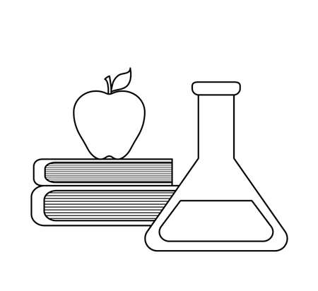 pile of library books with apple fruit and tube test vector illustration design