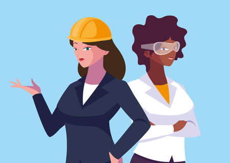 Women engineer design, Worker profession industry construction technology and occupation theme Vector illustration Banque d'images - 140642947