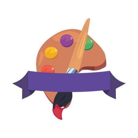 color palette paintbrush back to school vector illustration