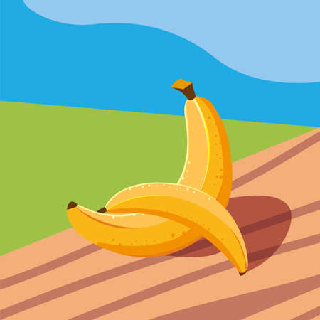 fresh banana fruit in wooden table and landscape vector illustration design