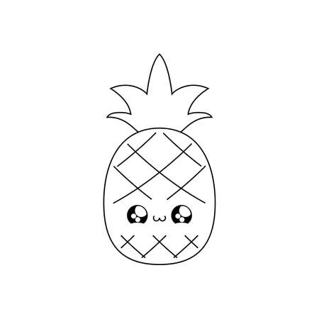 fresh healthy pineapple fruit kawaii style vector illustration design Иллюстрация