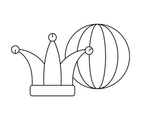 funny hat joker with ball isolated icon vector illustration design Ilustração