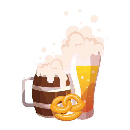 mugs of beer with foam in white background vector illustration design
