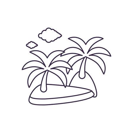island beach with palms icon vector illustration design