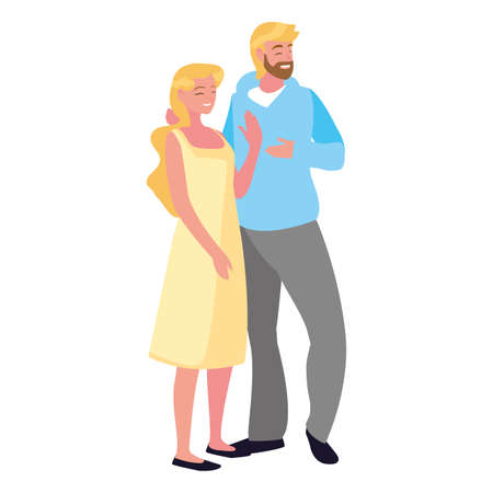 man and woman together standing white background vector illustration