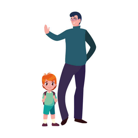 man with student boy back to school vector illustration