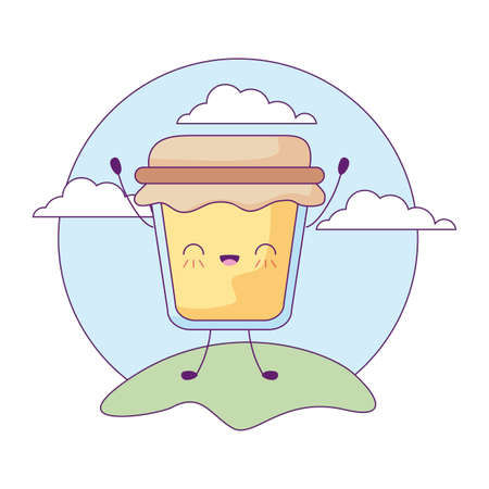delicious bottle of honey in landscape kawaii style vector illustration design