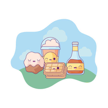 honey with waffle and set food in landscape kawaii style vector illustration design