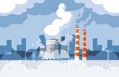 Industrial smoke clouds on city landscap, nuclear reactor environmental pollution vector illustration design