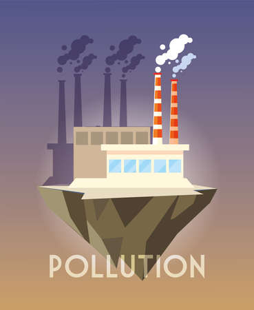 industrial building over terrain, environmental pollution vector illustration design