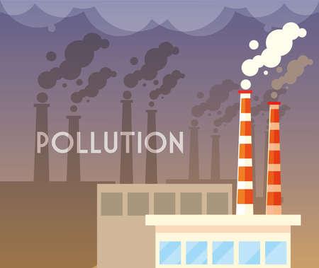 industrial smoke clouds, environmental pollution industrial vector illustration design Illustration