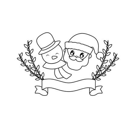 head of santa claus and snowman on white background vector illustration design