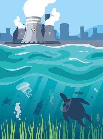 Industrial smoke clouds on city landscap, nuclear reactor environmental pollution vector illustration design Illustration