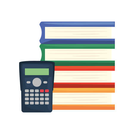 calculator book stacked back to school vector illustration Illustration