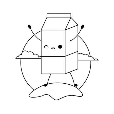 milk in box kawaii style vector illustration design 일러스트