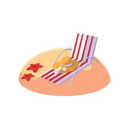 summer sand beach with chair scene vector illustration design Ilustracja