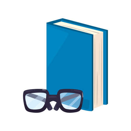 book and glasses back to school vector illustration