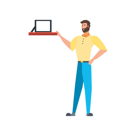 Frame over shelf and avatar man design, Furniture shop business store and room theme Vector illustration