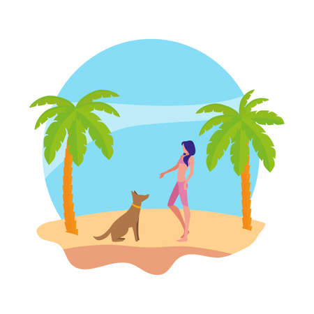 young woman with dog on the beach summer scene vector illustration design