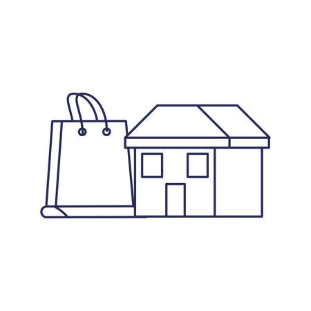 house facade with shopping bag vector illustration design