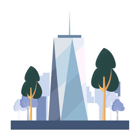 skyscraper building city street trees outdoors vector illustration
