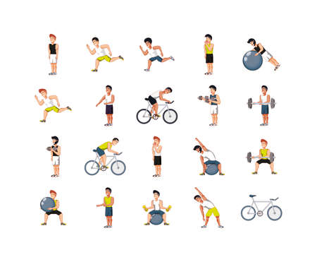 Men doing sport set design, healthy lifestyle fitness gym bodybuilding bodycare fit activity exercise and workout theme Vector illustration