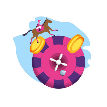casino roulette game with horse racecourse vector illustration design
