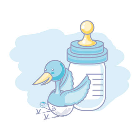 stork animal with diaper and bottle milk baby vector illustration design  イラスト・ベクター素材
