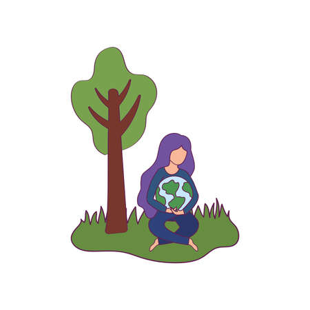 Avatar woman with planet design, Ecology renewable conservation saving support solution and bio theme Vector illustration Ilustracja