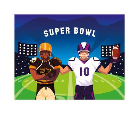 men players american football with label super bowl vector illustration design Vetores