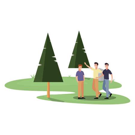 group men walking in the park vector illustration