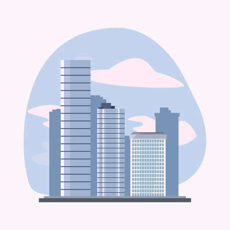 city buildings and skyscrapers urban scene vector illustration