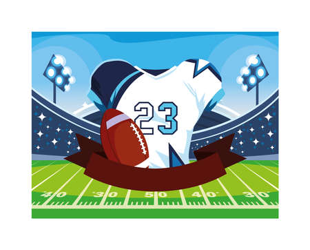 american football shirt with ribbon on white background vector illustration design