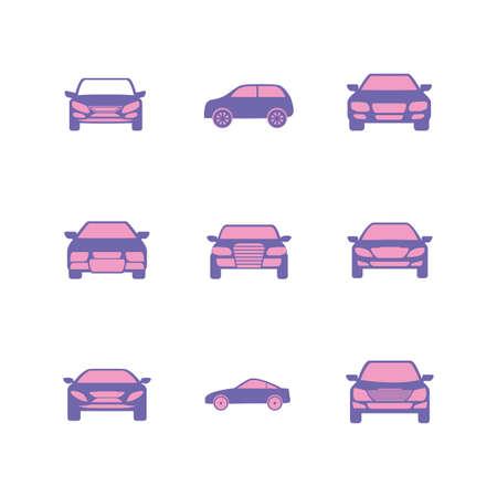 Purple cars set design, Vehicle automobile auto transportation transport wheel automotive and speed theme Vector illustration