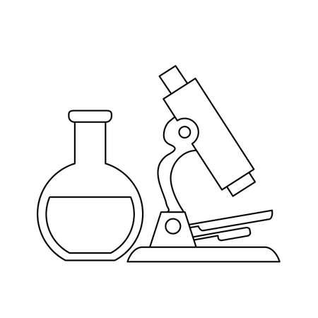 tube test laboratory with microscope vector illustration design