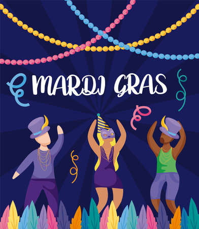 People with mardi gras hats design, Party carnival decoration celebration festival holiday fun new orleans and traditional theme Vector illustration Ilustração