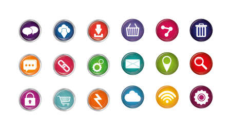 Icon set design, Digital marketing ecommerce shopping online strategy media and seo theme Vector illustration Vettoriali