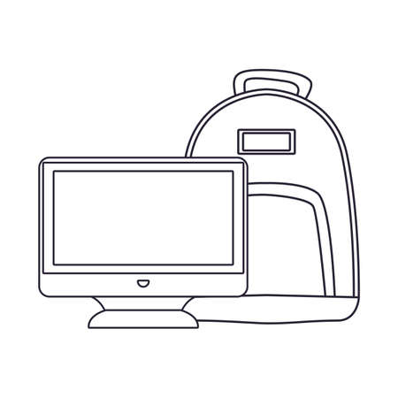 backpack and computer back to school vector illustration